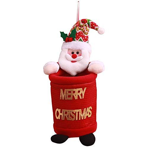 Wastebasket Christmas Santas Snowman Doll Decorative Round Shape Trash Can for Kitchen Pantry Utility Room Bathroom Holiday Decor (A) ()