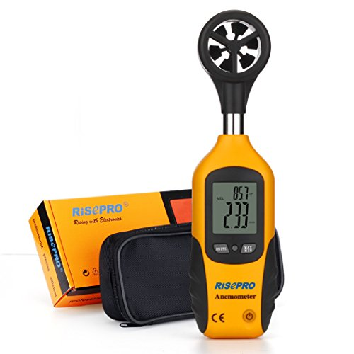 Anemometer, RISEPRO Digital Mini LCD Wind Speed Gauge Air Flow Speed Meter & Temperature Thermometer HT-81
