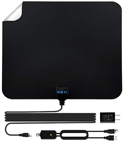 Indoor HD TV Antenna Up to 80 Miles Range, Amplifier Signal Booster Support 4K 1080P UHF VHF Freeview HDTV Channels with Coax Cable