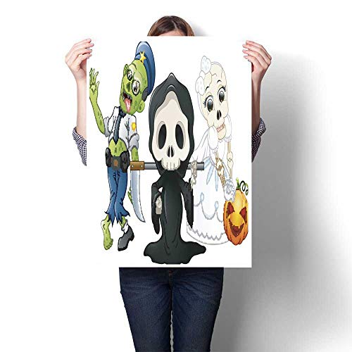 smllmoonDecor Canvas Prints Wall Art Halloween Costumes Kids with Grim Reaper Skull Bride and Zombie Decorative Fine Art Canvas Print Poster K 16