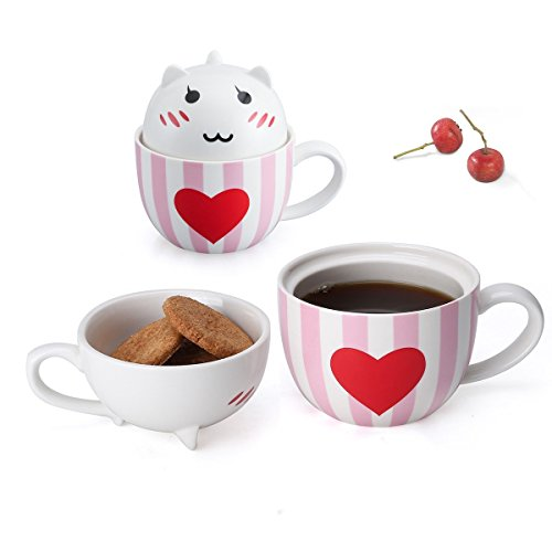 - Cat Coffee Mugs Gifts for Mom with Cookie Lids-Novelty Cat Lover Gifts for Women/Mom,Ceramic Cute Tea Mug Sister Gifts-11oz Pink