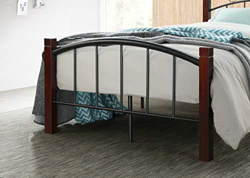 Hodedah HI599 Complete Metal Twin Bed, Mahogany