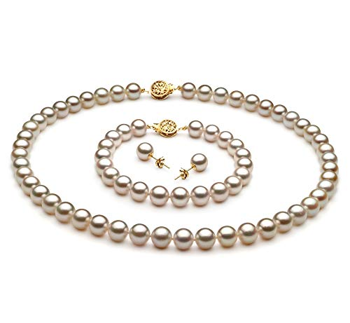 (White 7-7.5mm AA Quality Japanese Akoya Cultured Pearl Set for Women-16 in Chocker Length)