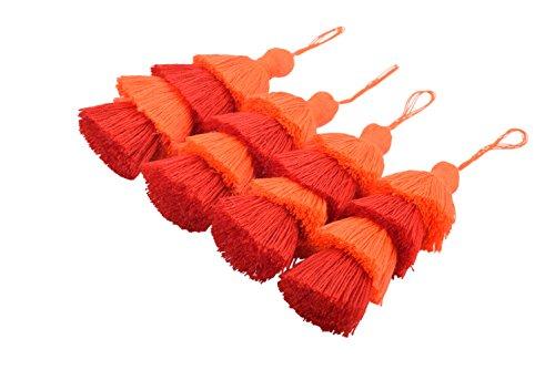 KONMAY 4pcs 3.0(7.5cm) 4 Layers Craft Jewelry Layered Tassels with Hang Loop (Orange)