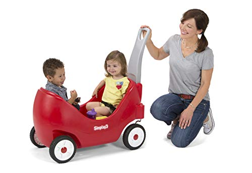 (Simplay3 Toddler Wagon with Two High Back Seats, Cupholders, and Seatbelts - Red)