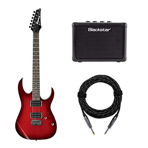 Ibanez 6-String Solid Body Electric Guitar (RG421BBS) with FLY3 Amp and Knox Guitar Cable (3 Items)
