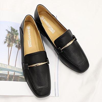 GAOLIM Zapatos De Mujer Zapatos Con Muelle Pequeño, Rugoso Zapata Negro