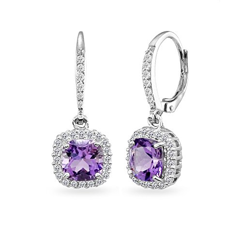 Sterling Silver Amethyst Cushion-Cut Dangle Halo Leverback Earrings with White Topaz Accents