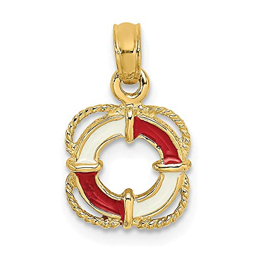14k Yellow Gold Red White Enameled Lifesaver Band Ring Pendant Charm Necklace Sea Shore Beach Life Boating Fine Jewelry Gifts For Women For ()