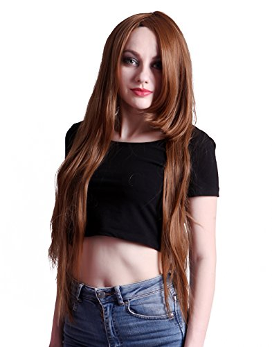 HDE Women's Wig Long Straight Hair Wig (32 Inches Total Length) with Included Wig Cap Synthetic Halloween Cosplay LARP Costume Accessory (Auburn)]()