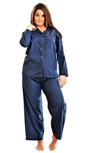 Tailored Womens Pajamas (Up2date Fashion Women's Pajama Sets, Woven Full Sleeves PJLargeNavy)