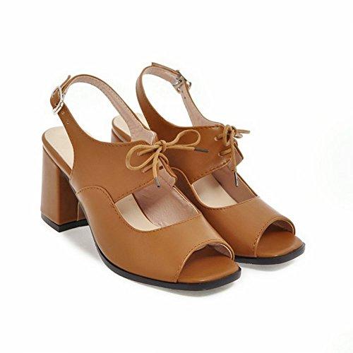 Mee Shoes Damen Chunky Heels Backstrap Slingback Sandalen