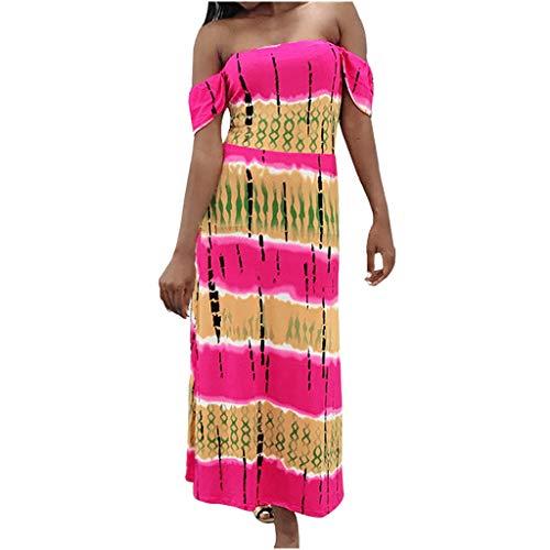Women Off Shoulder Maxi Dress Color Block Short Sleeve Loose Maxi Dress Casual Summer Boho Sundress (Set Embellished Pant Leaf)