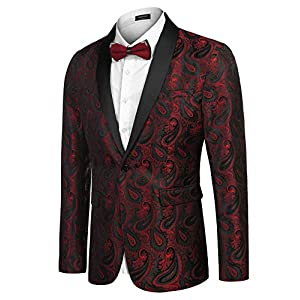 COOFANDY Mens Floral Tuxedo Jacket Paisley Shawl Lapel Suit Blazer Jacket for Dinner,Prom,Wedding