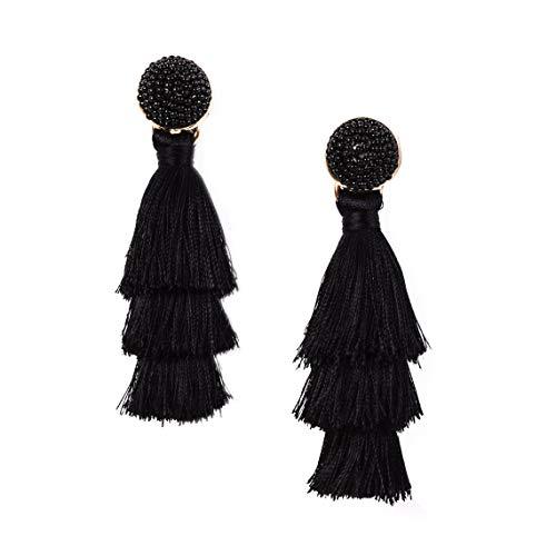 RIVERTREE Womens Layered Tassel Earring Beaded Boho Statement Fringe   Black 3 Tiered Long Vintage Chandelier Drop Dangle Earring