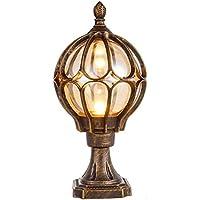 Jardín colocar el vidrio puerta globo lámpara farola luces al aire libre pilares de mármol paisaje mediterráneo lámparas…