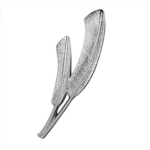 (MISSU JEWELRY Retro Double Banana Leaf Lapel Brooch Clip Pin Unisex Feather Dress Collar Badge Pin (Silver))