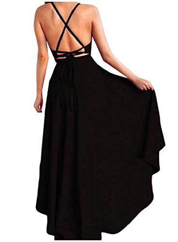 Solido Coolred Vestito Di Cocktail Partito donne Partito Colore Backless Di Da Nero Sling 1R4SYg