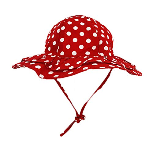 DANMY Baby Girl Sun Hat with UPF 50+ Outdoor Adjustable Beach Hat with Sun Protection Wide Brim Bucket Hat (48-50 cm (2-3 Years), DOT (Red)