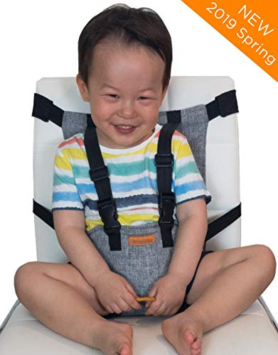 liuliuby On-The-Go Harness Seat - Padded Portable High Chair with Safety Harness, Travel Booster Seat for Babies and Toddlers - Compact and Washable