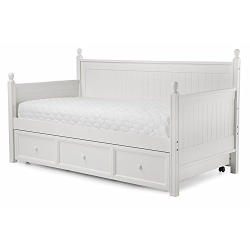 Casey II Wood Daybed with Ball Finials and Roll Out Trundle Drawer, White Finish, Twin (Trundle Storage Drawers)