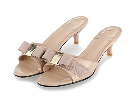 SLL-LY-6063-xingse-39 SUNROLAN April Women's Slide Heels Stiletto Pump Sandal Peep Toe Bow Accent Slide Dress Sandals Creampuff US 8 (Accent Platform Pumps)