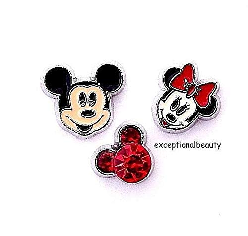- Mickey Minnie Mouse Red Rhinestone Head Ears Living Memory Floating Charms
