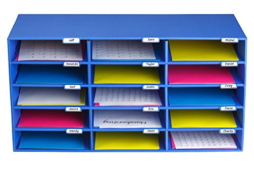(AdirOffice File Organizer Classroom - Office - Home - Blue - Corrugated Cardboard (15 Slots, Blue))