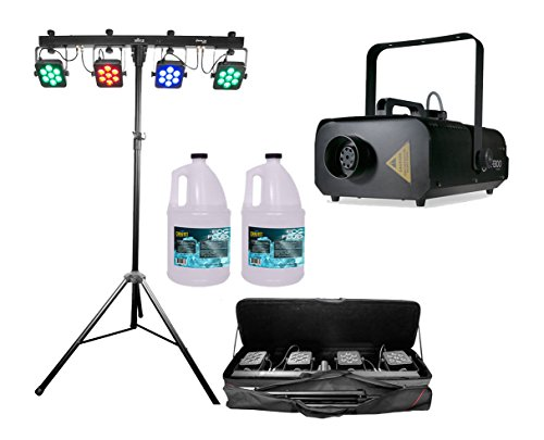 Chauvet 4Bar Tri USB Wash Light Pack w/Tripod + ADJ VF1300 + 2x Gallon Fog Fluid by Chauvet