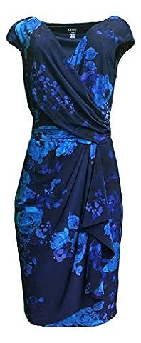 Chaps Womens Blue Floral Surplice Matte Jersey Sheath Dress (Small , Blue Floral) - Matte Jersey Surplice
