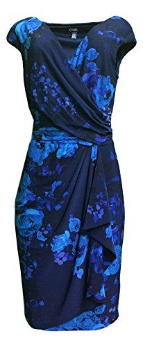 Chaps Womens Blue Floral Surplice Matte Jersey Sheath Dress (Large , Blue ()
