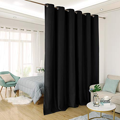 Deconovo Privacy Room Divider Curtain Thermal Insulated Blackout Curtains Screen Partition Room Darkening Panel for Shared Bedroom, 10ft Wide x 8ft Tall 1 Panel Black