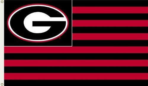 University Bulldogs Football - NCAA Georgia Bulldogs 3-by-5 Foot G Stripes Flag With Grommets