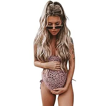 Daringjourney Traje de baño de Maternidad Sleon de Playa de Leopardo Bikini Mujer Embarazada Traje de baño Sexy Traje de baño Premama