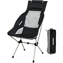 MARCHWAY Lightweight Folding High Back Camping Chair with Headrest, Portable Compact for Outdoor Camp, Travel, Picnic, Festival, Hiking, Backpacking (Black)