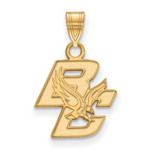 14k Yellow Gold Boston College Eagles Baldwin School Mascot And Letters Pendant 13x14mm