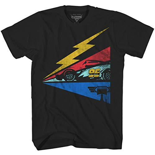 Disney Cars 3 Men's Lightning McQueen Bolt Sideways T-Shirt (Disney Pixar Bolt)