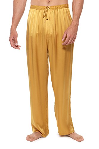 Mens Silk Pant - TexereSilk Men's Luxury Silk Pajama Pants (Hiruko, Gold, L) Gifts for Dad