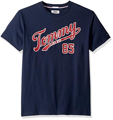 (Tommy Jeans Men's T Shirt Short Sleeve Graphic Logo Tee, Black Iris, Medium)