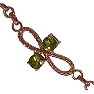 Infinity Rose Gold Peridot Gemstone 925 Sterling Silver Bracelet For Gift