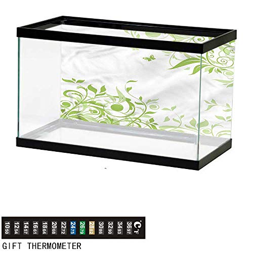 bybyhome Fish Tank Backdrop Green,Spring Time Butterfly,Aquarium Background,60