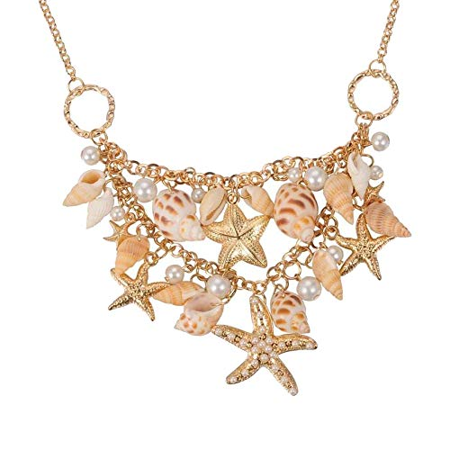 Pandahall Fashion Sea Shell Starfish Faux Pearl Collar Bib Statement Chunky Necklace -