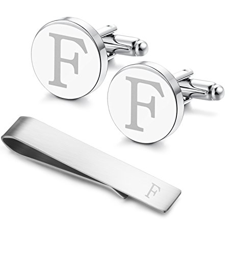LOYALLOOK Classic Engraved Initial Cufflinks and Tie Clip Bar Set Alphabet Letter Formal Business Wedding Shirts -