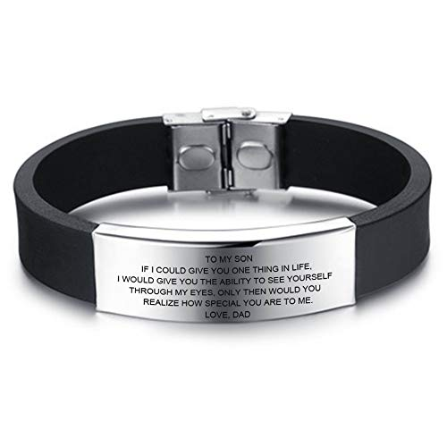 LF Free Engraving Name Date Custom Inspirational Son Daughter Bracelets Personalized Gifts to My Son,to My Daughter Sentiment Motivational Cuff Bracelets Bangle for Boys Girls from Loved Dad,Mom (A Poem For My Daughter From Dad)