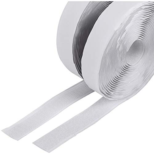 (Meiho Lives Self Adhesive Hook & Loop, 16.4Ft Length 0.78In Width Sticky Back Tape Fabric Fastener Roll, Strong Self-Adhesive Interlocking Tape Wide Used in Sewing, School, Office, Home, etc)
