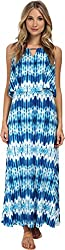 Calvin Klein Women's Print Double Layer Maxi Adritc Blue Multi Dress MD (US 8-10)