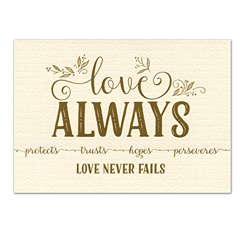 5x7 Love Never Fails, Christian Art Print, 1 Cor 13 Metallic Gold Foil (Unframed Bible Verse Wall Art) (Ivory, Gold)
