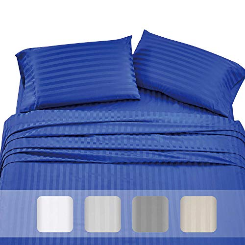 Premium Quality 500 Thread Count 100% Pure Cotton Sheets - 4-Piece Real Blue Color King Damask Stripe Long-Staple Cotton Sheet Set for Bed, Fits Mattress Upto 18'' Deep Pocket, Sateen ()
