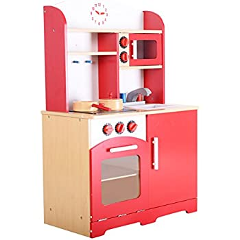 Beau Giantex Wood Kitchen Play Set For Kids Cooking Pretend Toddler Playset, Red
