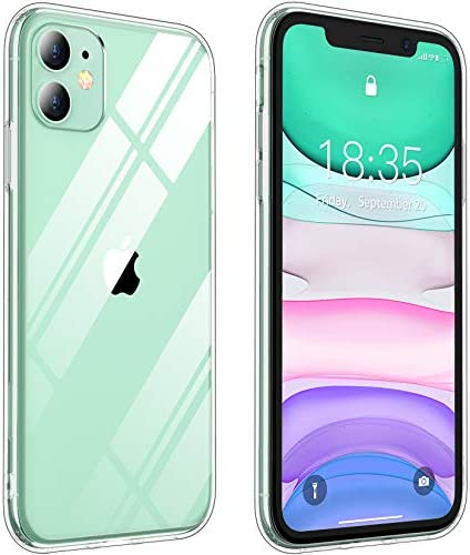 Vapesoon Compatible with iPhone 11 Case, Crystal Clear TPU+Hard PC Protective Slim Shockproof iPhone 11 Phone Case for iPhone 11 (6.1Inch) (Clear)